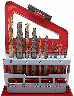 10Pc Screw Extractor LEFT-HAND Cobalt Drill Bit Set Easy Out Broken Bolt Screw