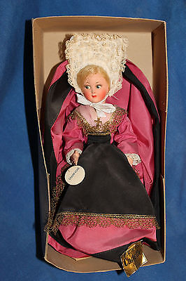 "Vintage Celluloid Champagne Girl Doll in box 9"" Poupees Cadette Nice"