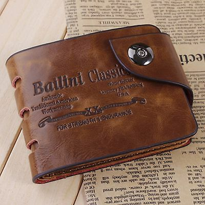 Men's Genuine Leather Bifold Wallet ID Credit Card Holder Pockets Brown Clutch
