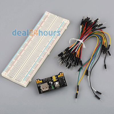 MB-102 830 Point Solderless PCB Breadboard+Power Supply+Jump Cable Wires 65pcs