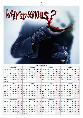 The Dark Knight Joker - 2017 A4 CALENDAR **BUY ANY 1 AND GET 1 FREE OFFER**