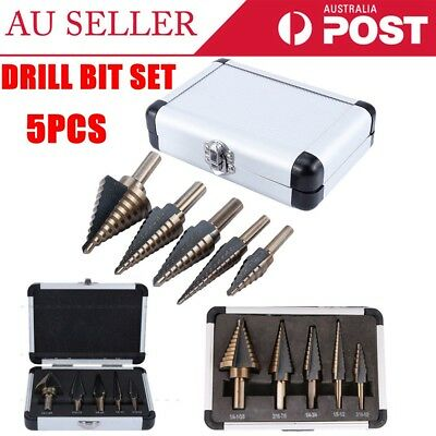 5PCS HSS STEP COBALT MULTIPLE HOLE CUTTER DRILL BIT SET KIT With Aluminum Case