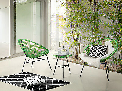 Garden bistro set, table and 2 chairs, Mexican chair, weave pattern, green