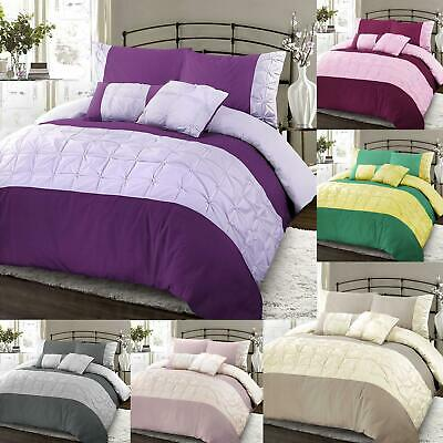 Luxury Embellished Pintuck Duvet Quilt Cover Bedding Set Single Double King Size