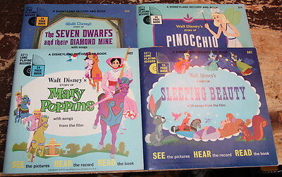 Lot of 4 Disneyland records and books