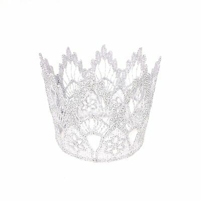 Silver Lace Crown - Tiara - Cake Topper Photo Props for Baby Newborn Infant