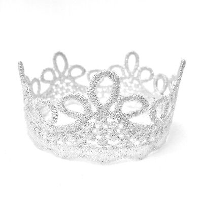 Silver Rope Lace Crown Tiara Photo Props for Baby Newborn Infant