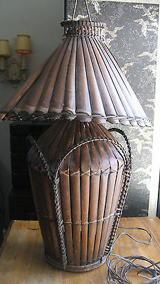 Antique Victorian Arts & Crafts Large Woven Bamboo Wicker Lamp Cottage Beach