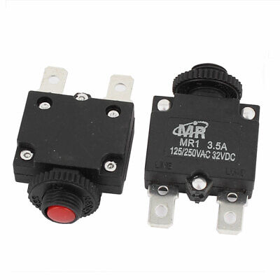 AC 125V/250V 3.5A Red Reset Button Overload Protector Circuit Breaker 2Pcs