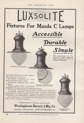 1915 Westinghouse Electric & Mfg Co Ad: Luxsolite Fixtures for Mazda C Lamps