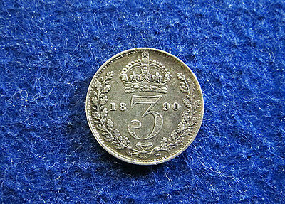 1890 Great Britain Silver 3 Pence - Extra Fine - Free U S Shipping