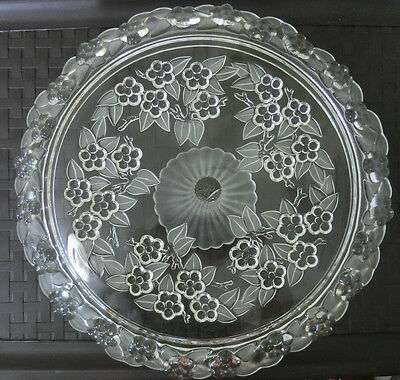 """Vintage Crystal Footed Cake Pie Pastry Stand Pedestal Dessert Plate Large 13"""""""