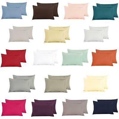 Luxury Pair of Plain Dyed 100% Cotton T200 Percale Oxford Pillowcases