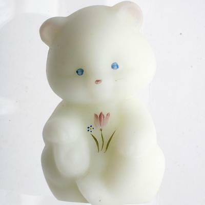 Fenton Glass Bear Pink Tulips Hand Painted White Satin Milk Glass Signed Label