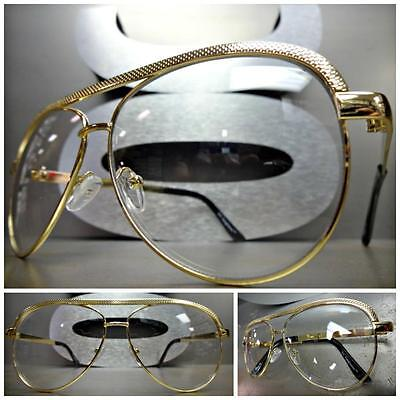 CLASSIC VINTAGE RETRO AVIATOR Style Clear Lens EYE GLASSES Gold Fashion Frame