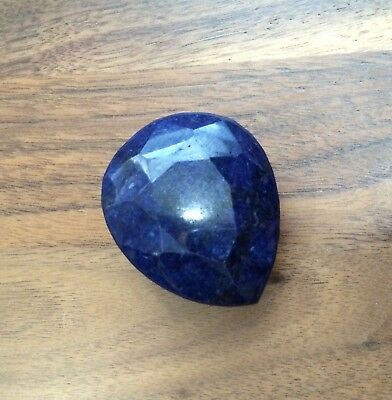 Large 390CT Faceted Blue Sapphire Stone Tear Drop Unique Chakra Crystal Jewelry