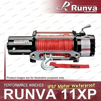 Runva 11XP IP67 Motor Waterproof 12V with Synthetic Rope BLACK Winch Kit
