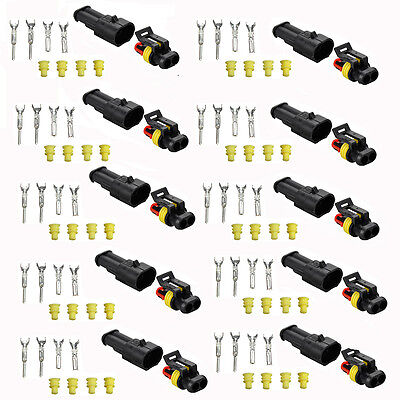 10 Kits 2 Pin Way Car Auto Sealed Waterproof Electrical Terminal Wire Connector