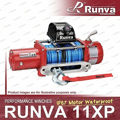 Runva 11XP IP67 Motor Waterproof 12V with Synthetic Rope RED Recovery Winch Kit