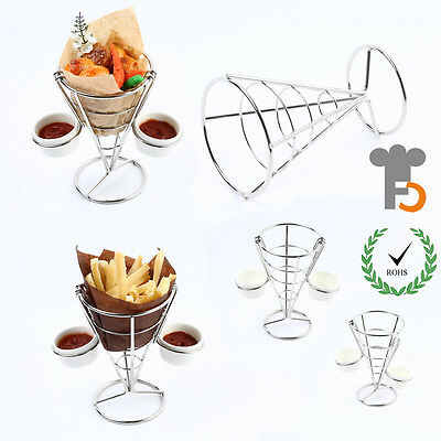 French Fries Holder with 2 Hooks & 2 White Porcelain Sauce Cups,Chips Cone F0065