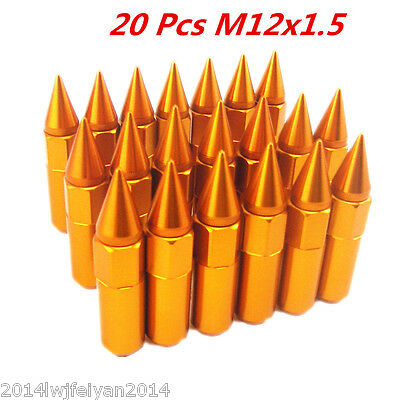 20Pcs Aluminum Golden Spiked 60mm M12X1.5 Wheels / Rims Lug Nuts Extended Tuner