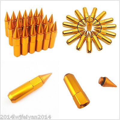 Golden 20Pcs M12X1.5 Spiked Aluminum 60mm Extended Tuner Wheels/Rims Lug Nuts
