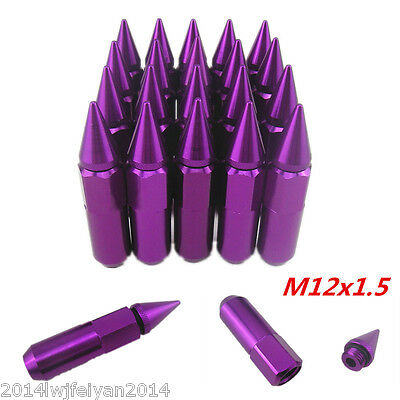 20Pcs Purple Spiked Lug Nuts Extended Tuner 60mm Wheels / Rims M12X1.5 For Honda