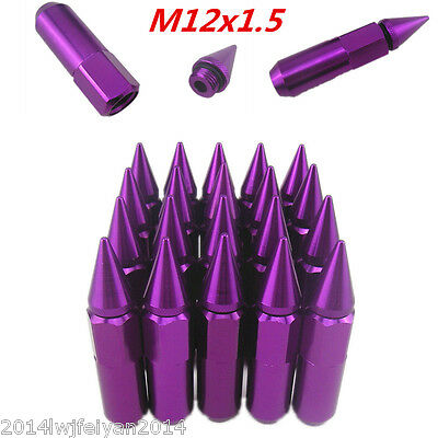 20pcs Purple Spiked Lug Nuts Extended Tuner 60mm Wheels Rims Aluminum M12X1.5