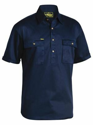 BISLEY Cotton Drill Work Shirt Closed NAVY BSC1433 Pack 3 Workwear Shirts