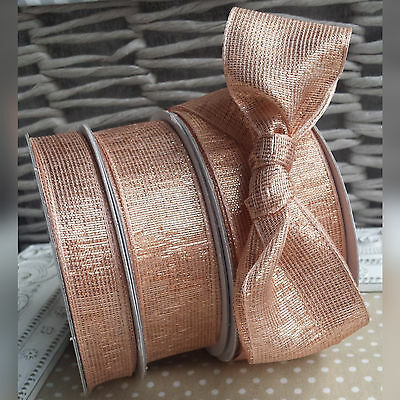 15, 25, 38mm Rose Gold Metallic Wired Ribbon. Christmas Wedding Copper Card Wrap