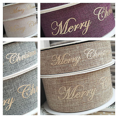 25mm / 40mm Gold Merry Christmas Script Faux Burlap Ribbon Gold Grey Natural Red