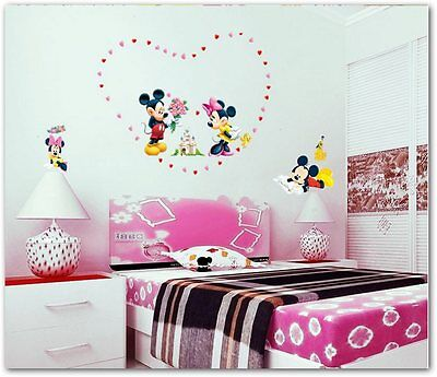Vinilo decoracion infantil Mickey Mouse Minnie Flower Mural Wall Sticker