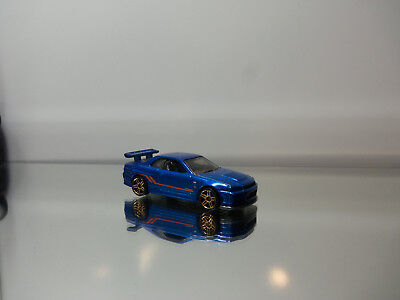 2014 Hot Wheels Nissan Skyline GT-R R34 - Mf. Blue - N.Mint Loose 1/64 Scale