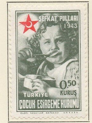 TURKEY;  1943 early Child Welfare issue fine Mint hinged 0.50k. value