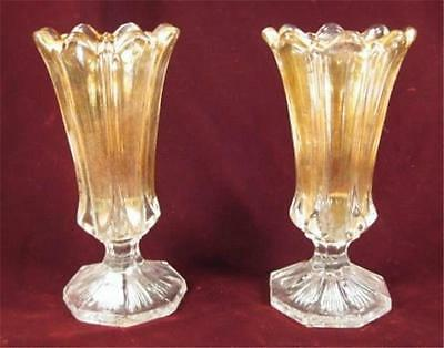2 Antique Portland Gold Flashed Bouquet Vases EAPG Portland Glass Co AS IS (O)