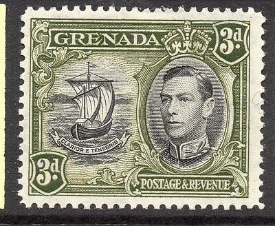 GRENADA;  1938 early GVI issue fine Mint hinged 3d. value 077569