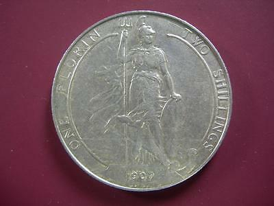 GREAT BRITAIN - 1907 silver FLORIN - old cleaning - VF-XF
