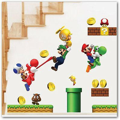 Super Mario Wall Stickers For Kids Rooms Children Wall Stickers infantil decor