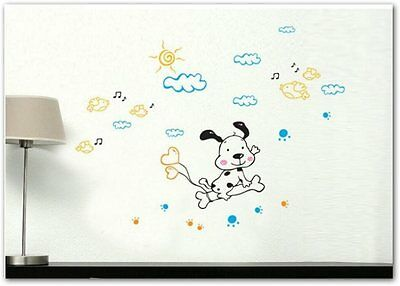 vinyl wall stickers Cute dog and birds home decor wall decals for kids rooms