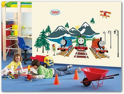 Tomas Train Green Blue Red helicopter Mountain Sun fluorescent Wall Stickers