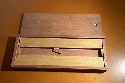 Antique Timber Elliott Bros London Scale Rulers In Original Timber Box C 19Th C