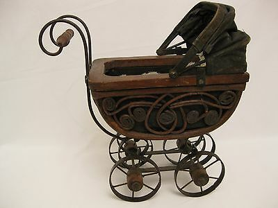 Antique Child's Toy Baby Buggy Stroller Early 1900's