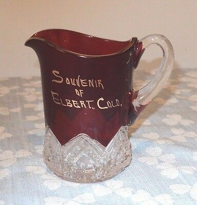Elbert Colo. Souvenir Red Flash Glass Pitcher Between Denver & Colo. Springs