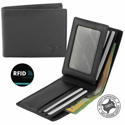 Men's Genuine Soft Leather 10 Cards Notes Bifold Wallet RFID Blocking New Blac