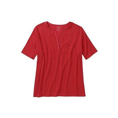 Maternity Short Sleeve Henley W/Pocket, Red Rover, Large White Stag