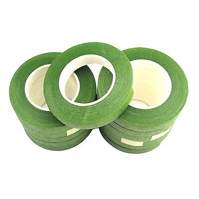 12 Reels Of Light Moss Green Floral Florist Tape Waterproof Buttonholes Stemwrap