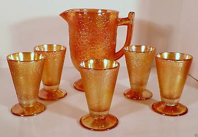 Jeannette Carnival Crackle Glass Vintage Marigold Water Set Pitcher and Tumblers