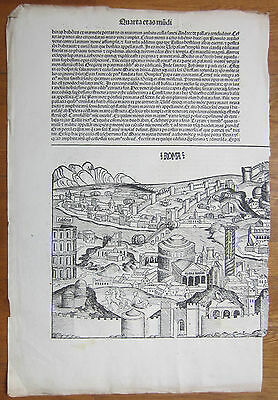 Incunable Leaf Schedel Liber Chronicorum Rome Roma - 1493