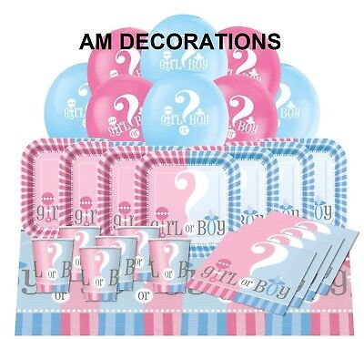 Gender Reveal Baby Shower Party Decorations Banners Plates Cups Blue Pink Unisex