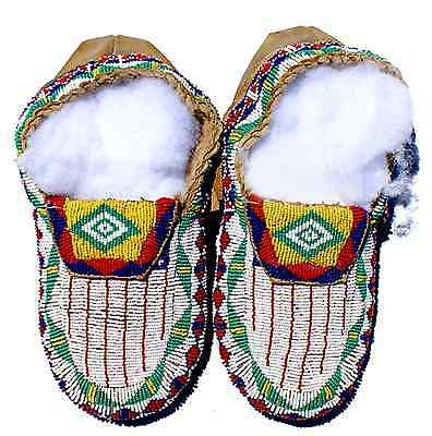 """Vintage Antique 11"""" Native American Blackfoot Indian Full Bead Moccasins"""